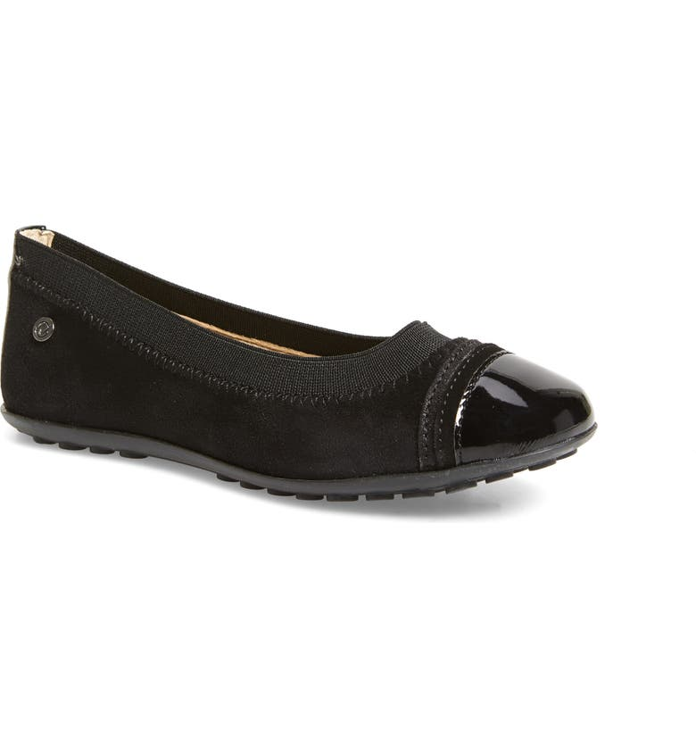 NATURINO Venezia Flat, Main, color, BLACK SUEDE LEATHER/ SYNTHETIC