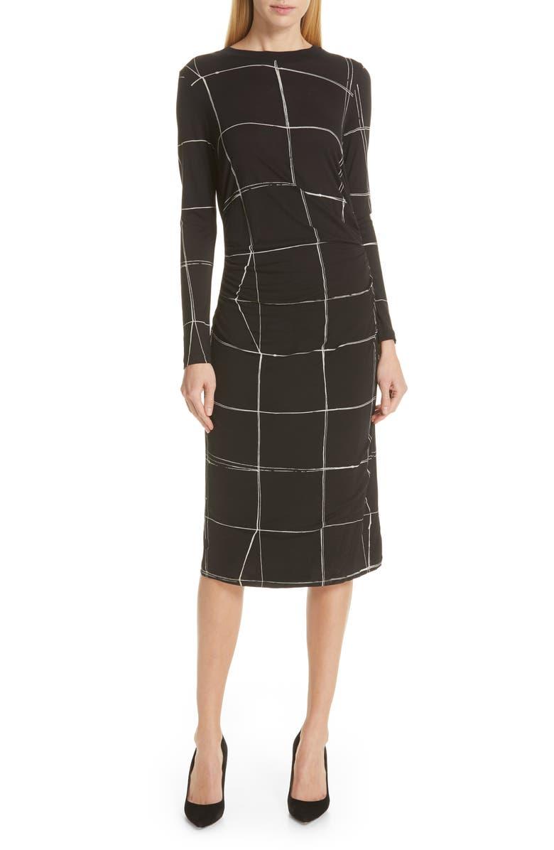 BOSS Esetta Windowpane Sheath Dress, Main, color, 001