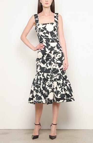Ruffle Hem Floral Stretch Twill Midi Dress, video thumbnail