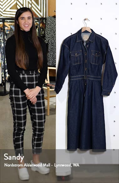 Long Sleeve A-Line Denim Dress, sales video thumbnail