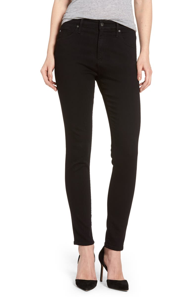 AG Farrah High Waist Ankle Skinny Jeans, Main, color, SUPER BLACK