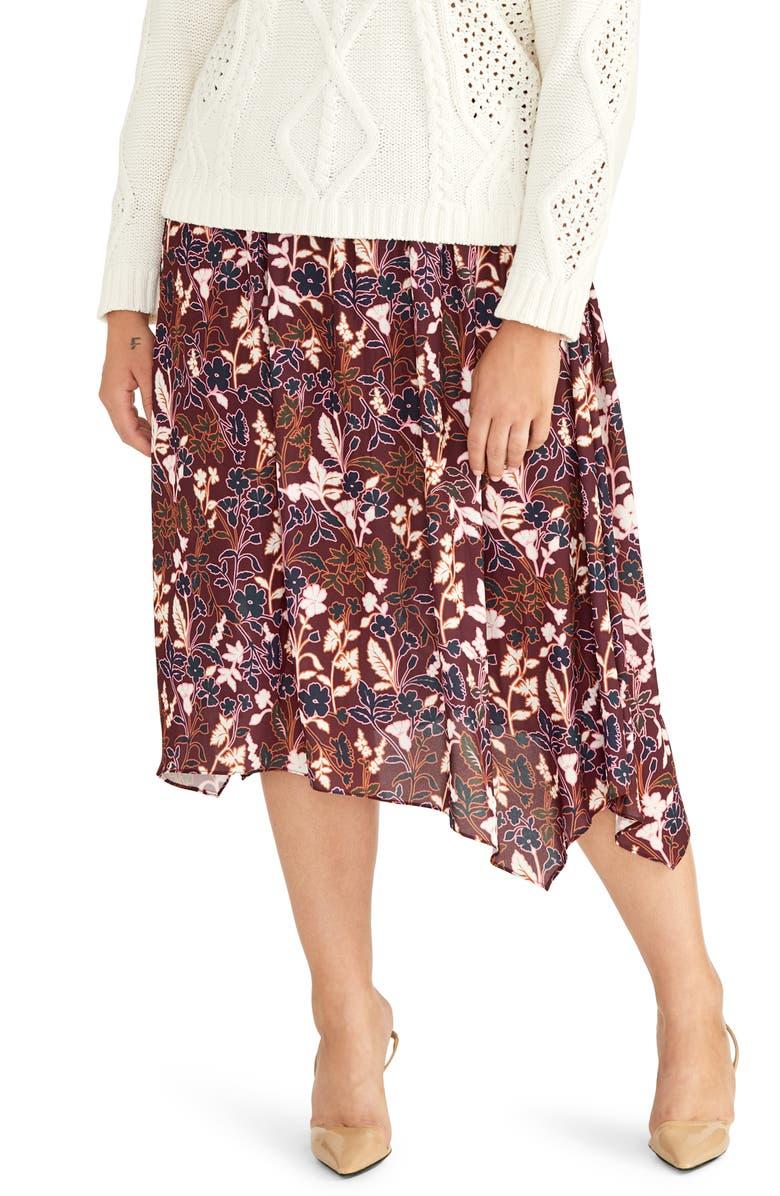 RACHEL RACHEL ROY Eden Floral Handkerchief Hem Skirt, Main, color, 600