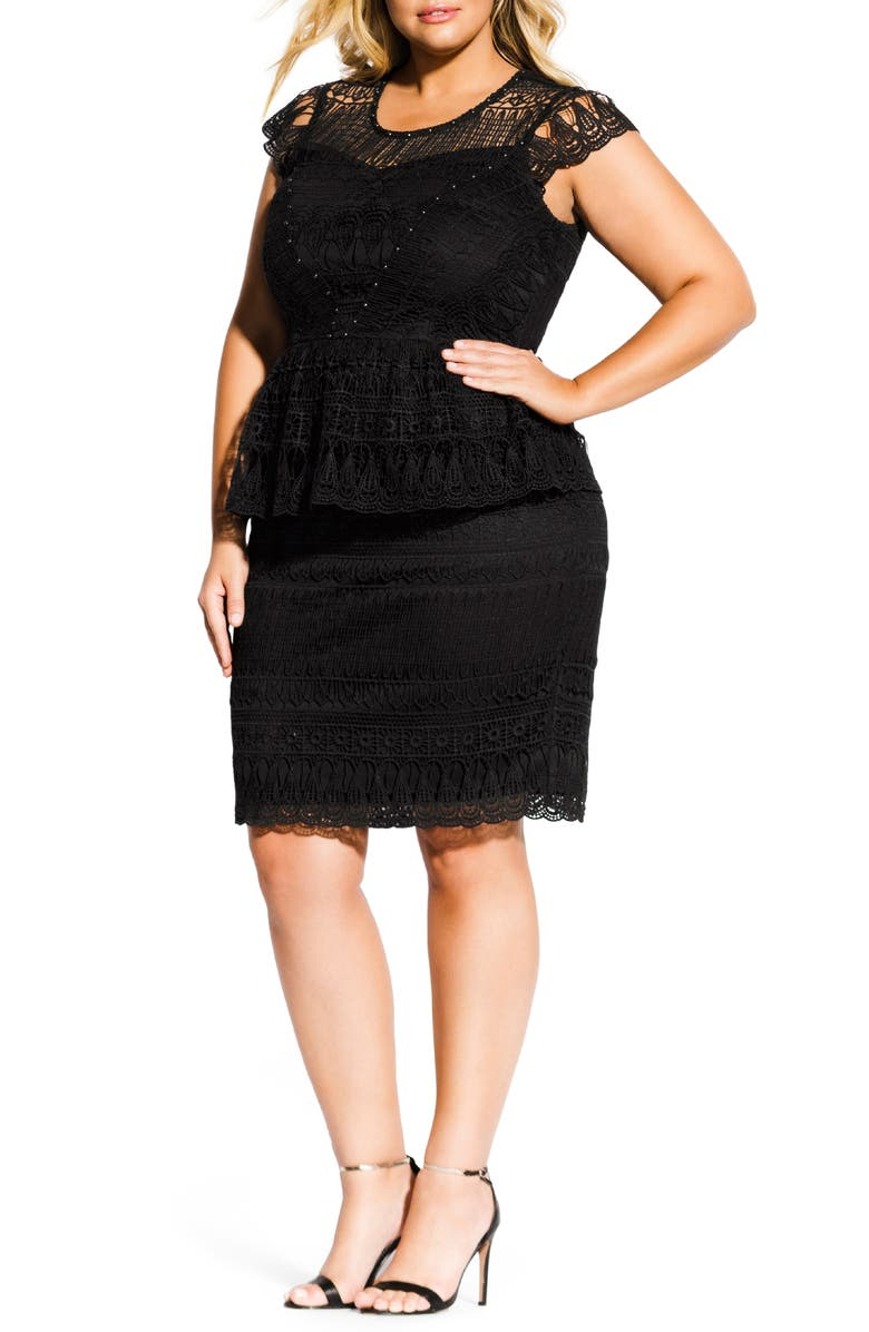 CITY CHIC Bellissima Crochet Overlay Peplum Dress, Main, color, BLACK