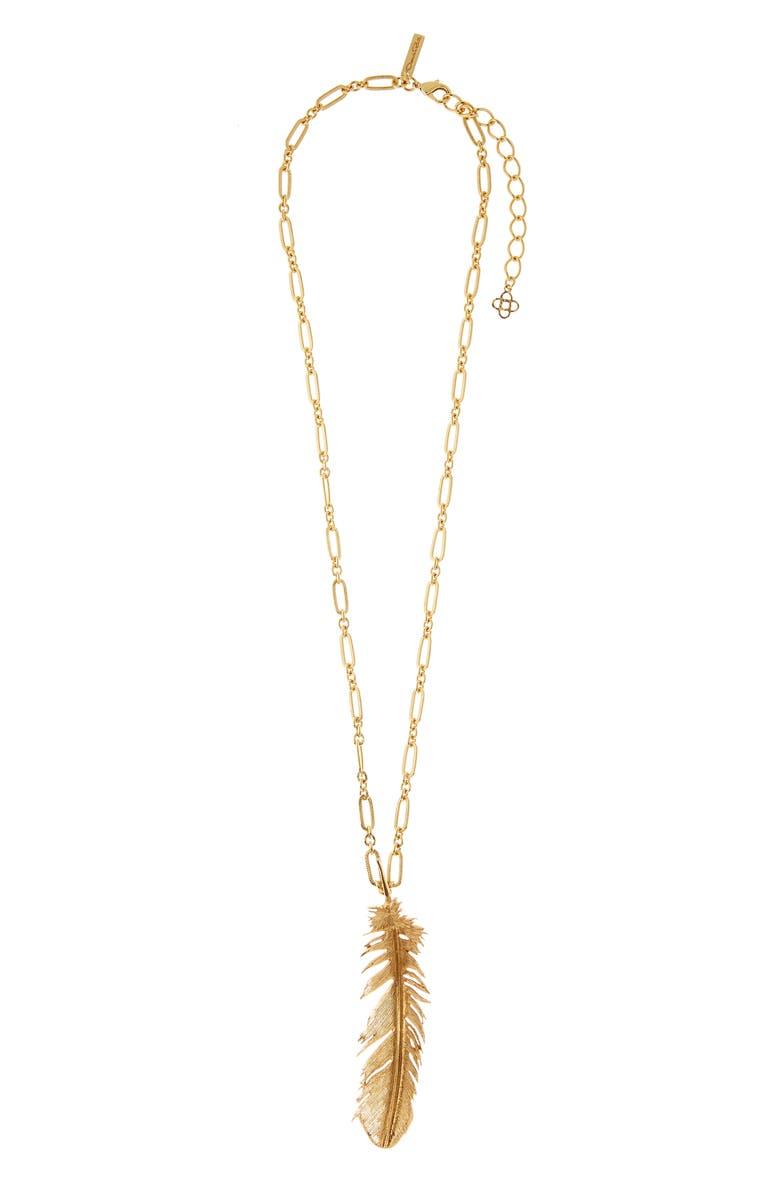 OSCAR DE LA RENTA Feather Pendant Necklace, Main, color, GOLD