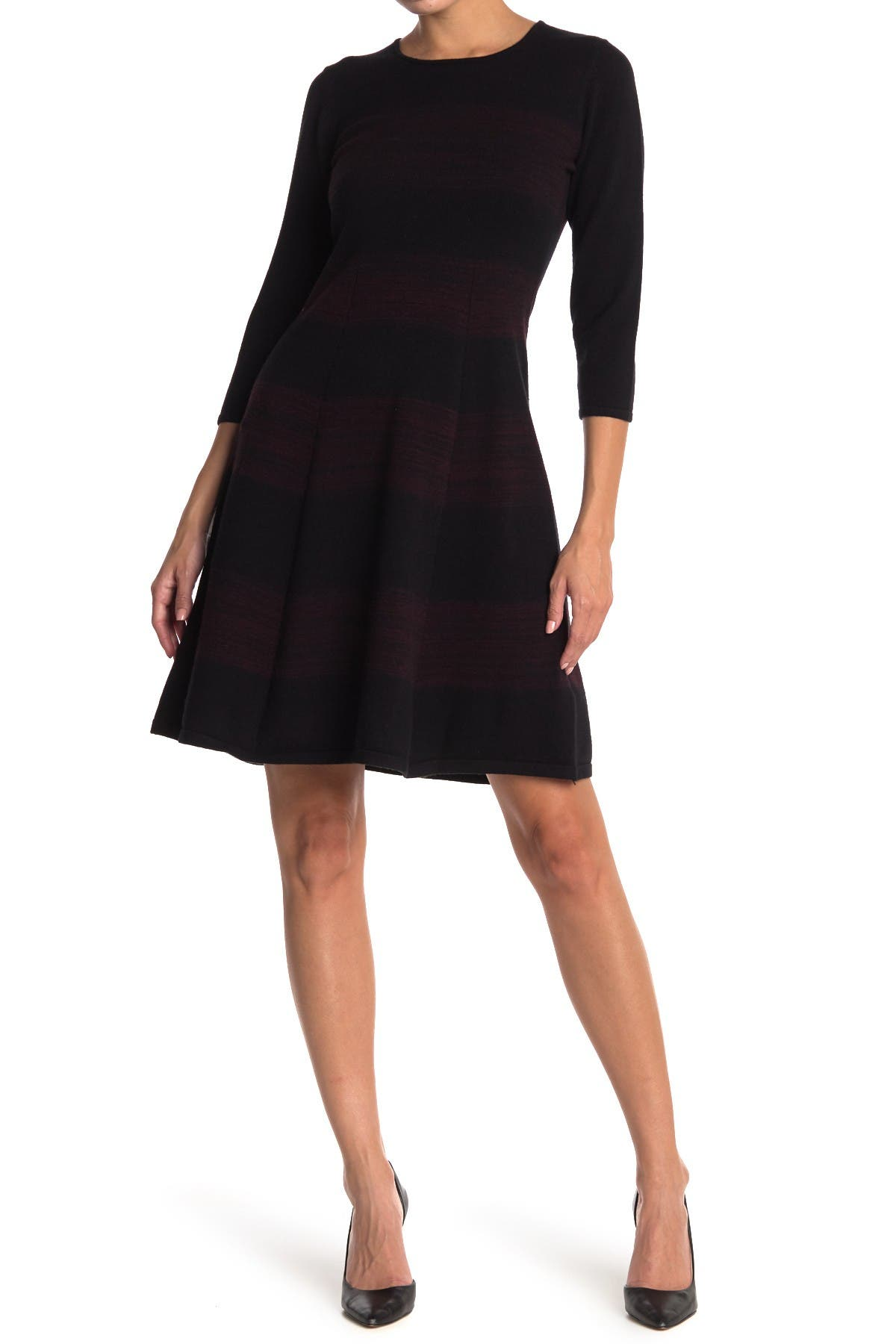 Image of T Tahari Striped 3/4 Sleeve Fit & Flare Dress