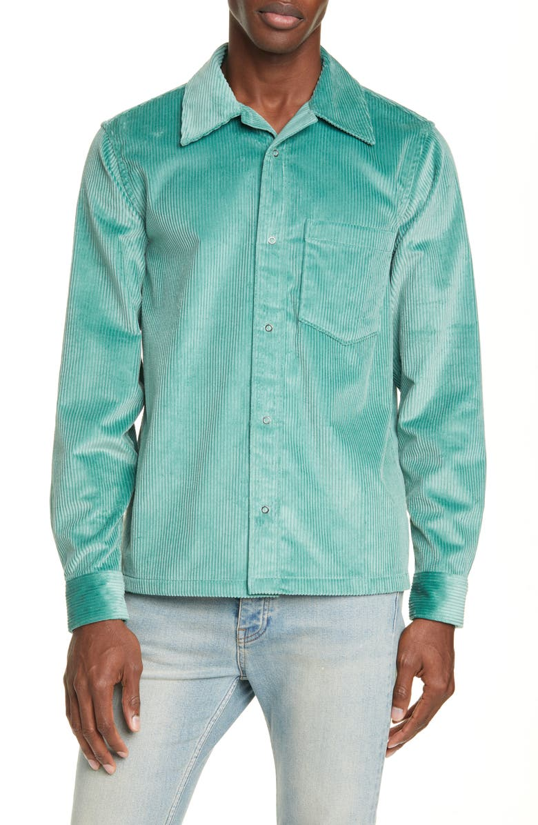 ACNE STUDIOS Denver Snap-Up Corduroy Shirt, Main, color, DUSTY GREEN