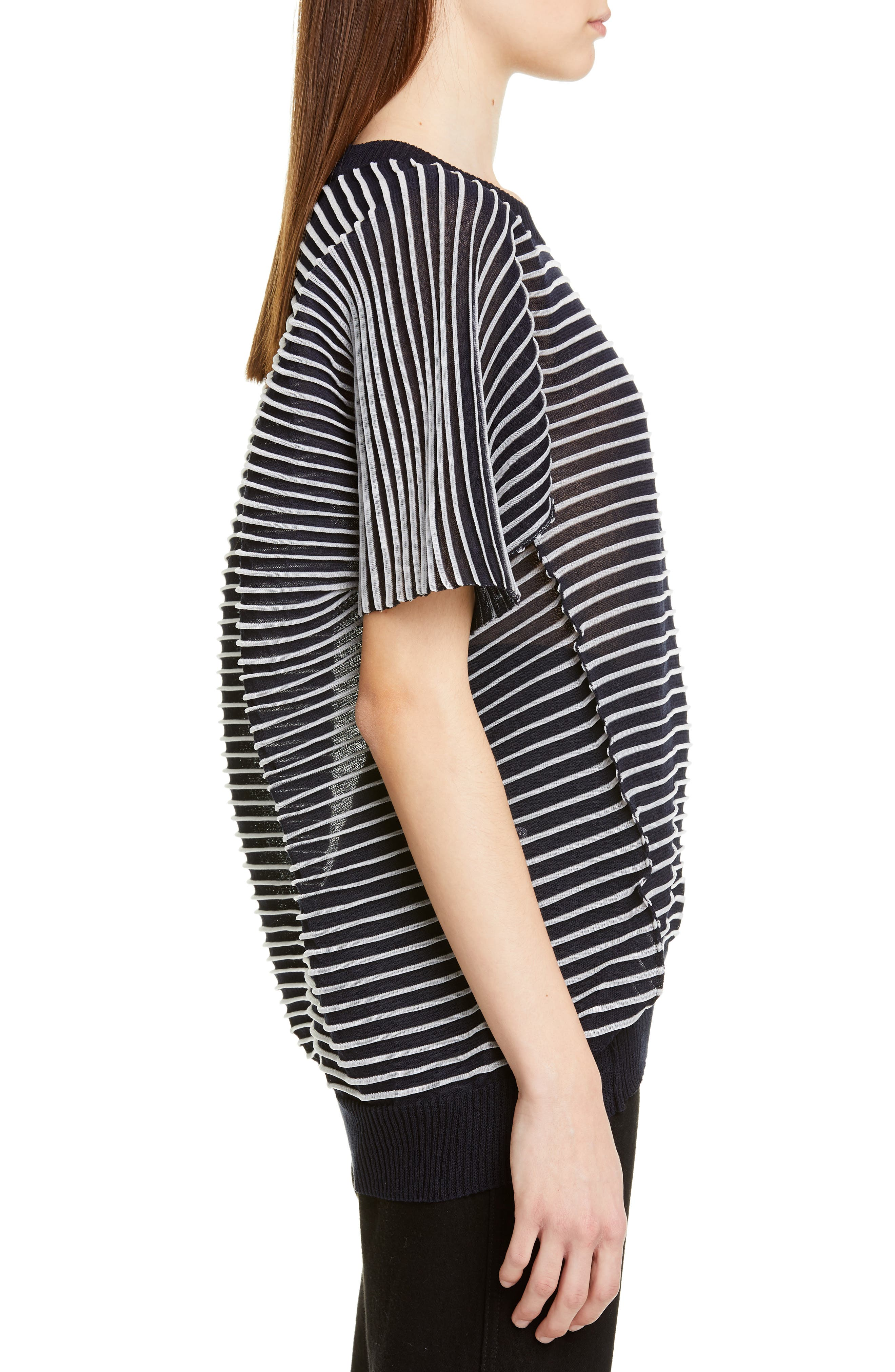 ,                             Ottoman Stripe Sweater,                             Alternate thumbnail 3, color,                             NAVY X CLEAR