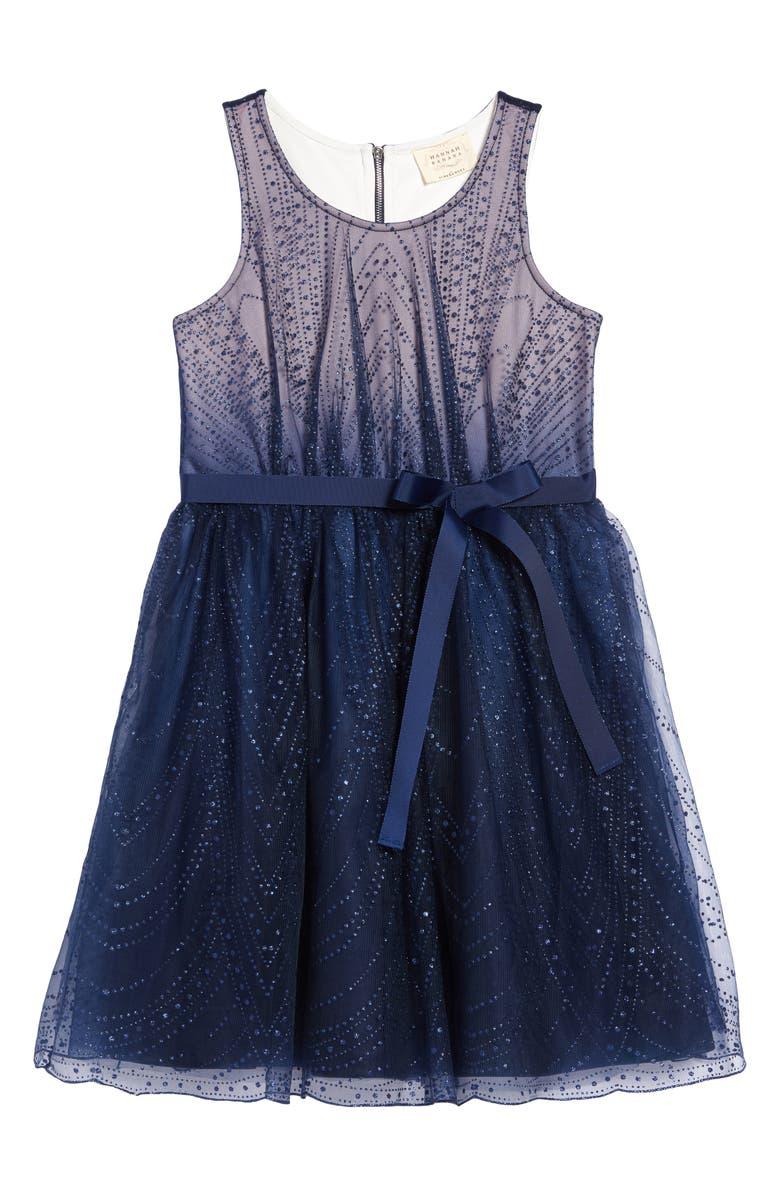 HANNAH BANANA Glitter Ombré Dress, Main, color, BLUE