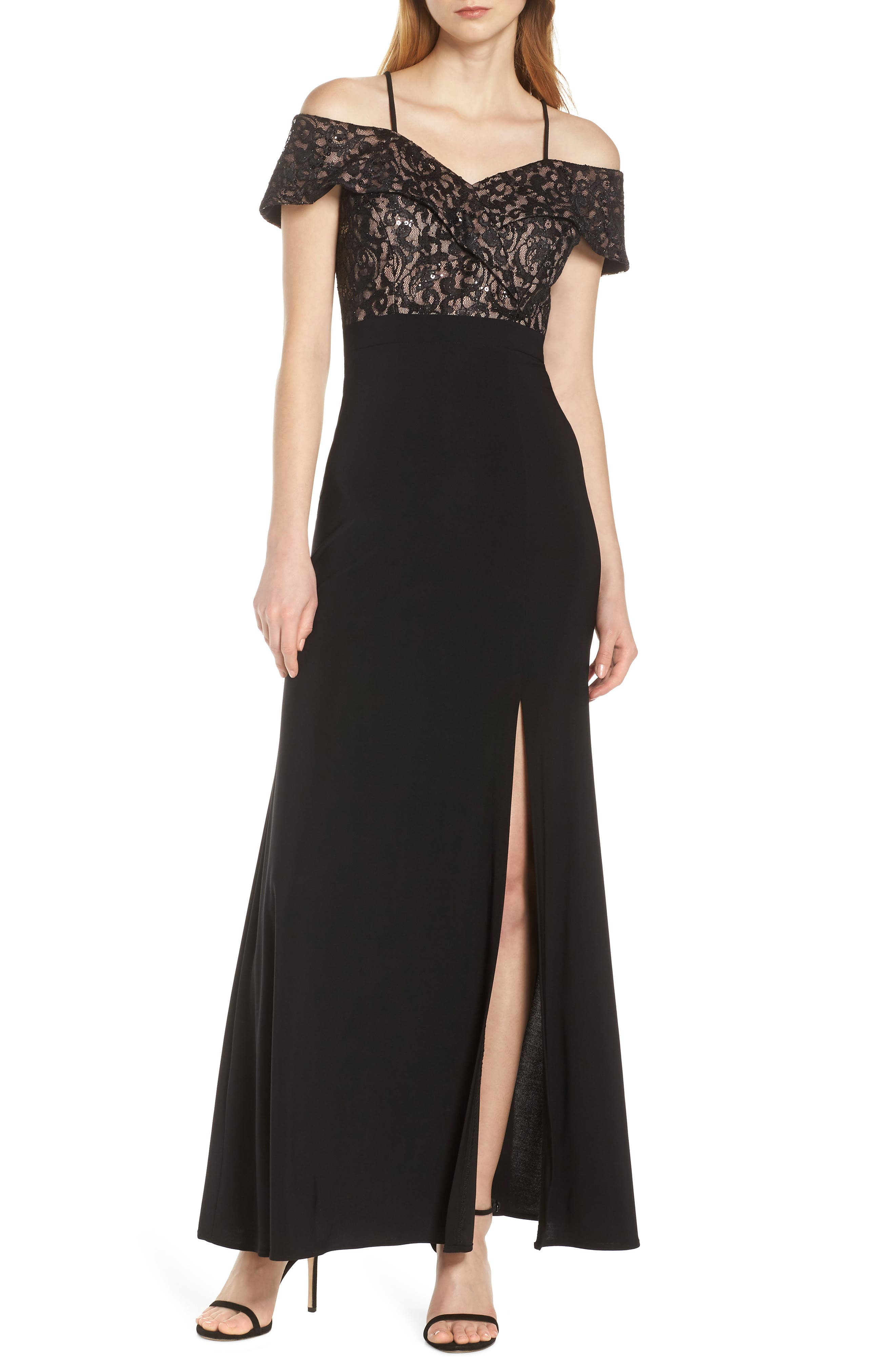 Morgan & Co. Cold Shoulder Lace Bodice Evening Dress, Black