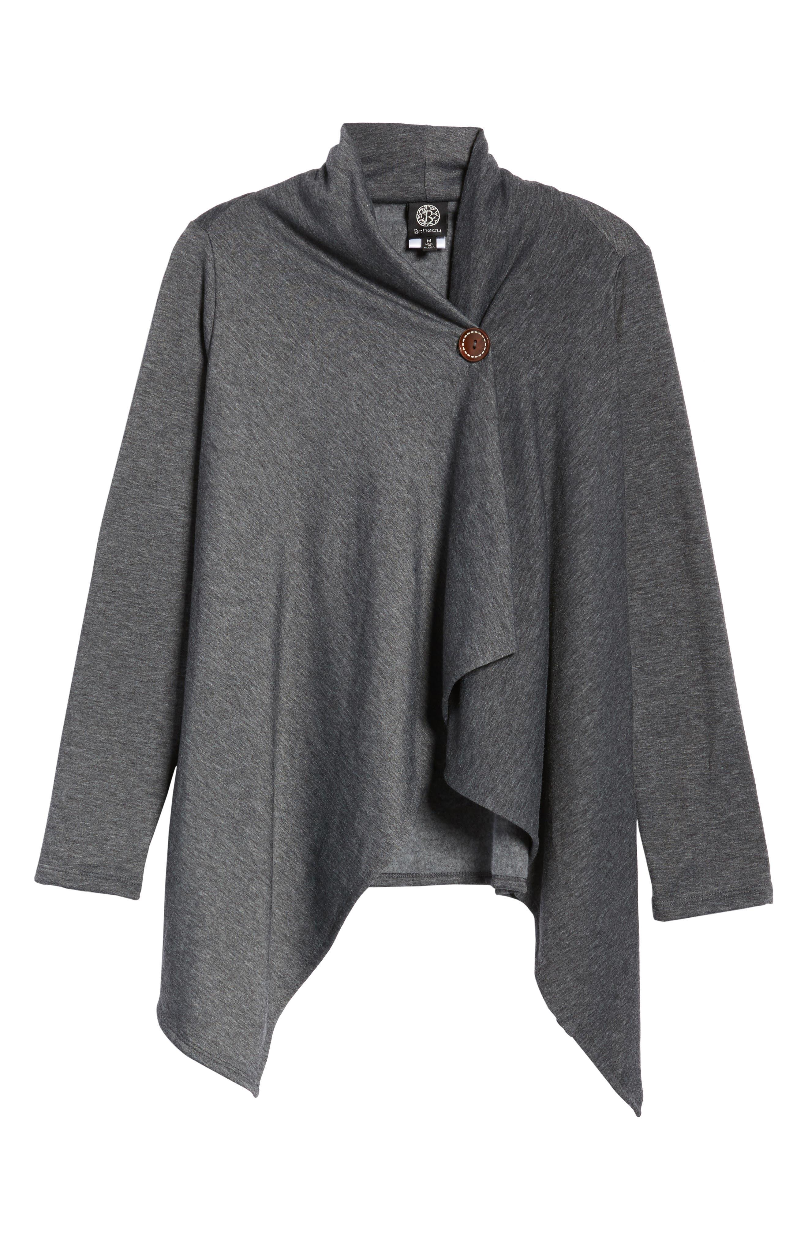 ,                             One-Button Fleece Wrap Cardigan,                             Alternate thumbnail 13, color,                             091