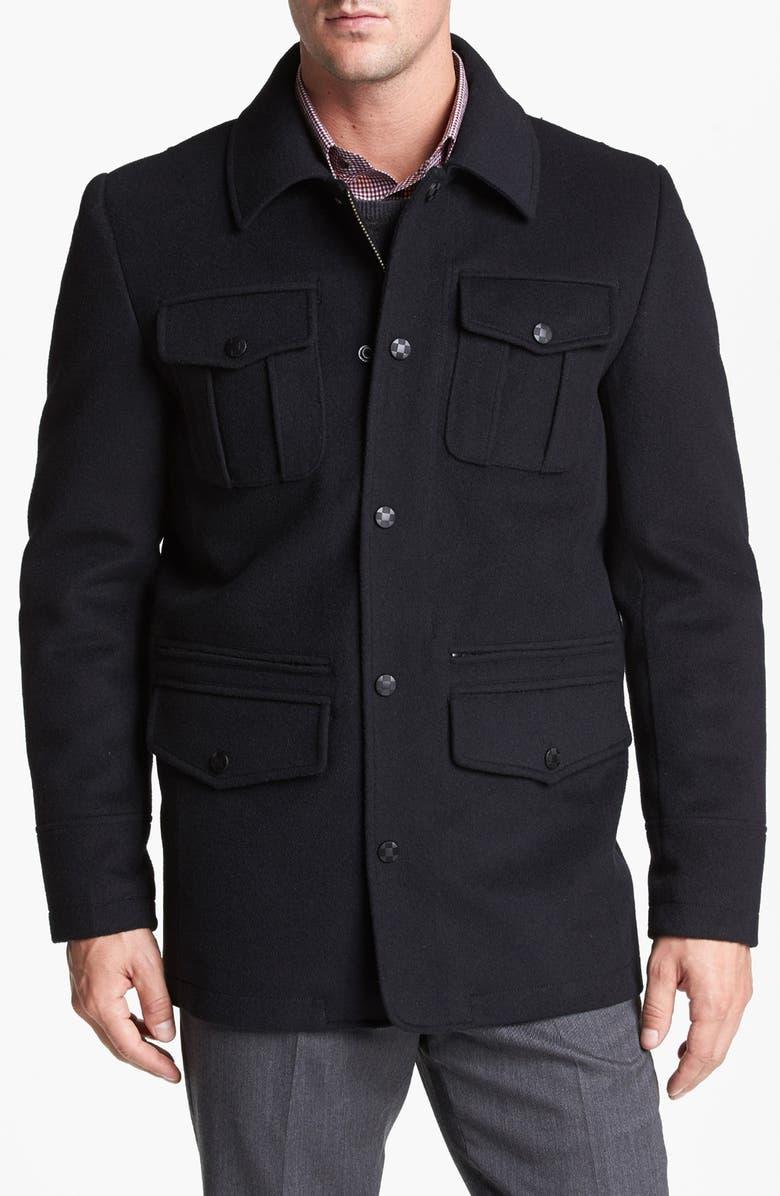 VINCE CAMUTO 'Storm System' Weatherproof Melton Jacket, Main, color, 001