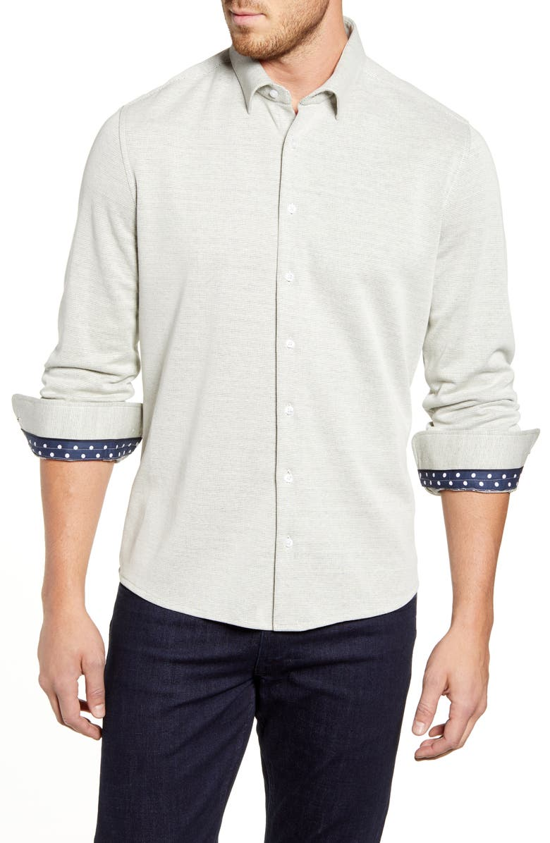 STONE ROSE Regular Fit Button-Up Performance Sport Shirt, Main, color, OFF-WHITE