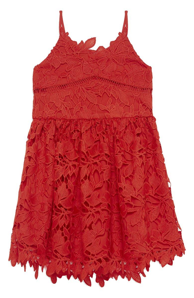 BARDOT Sleeveless Lace Dress, Main, color, 800