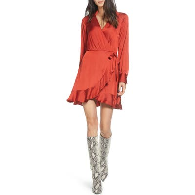 Paige Parisa Wrap Front Long Sleeve Satin Minidress