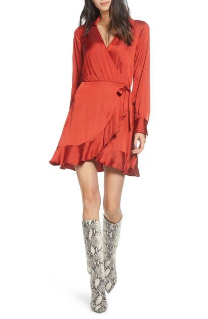 Paige Dresses PARISA WRAP FRONT LONG SLEEVE SATIN MINIDRESS