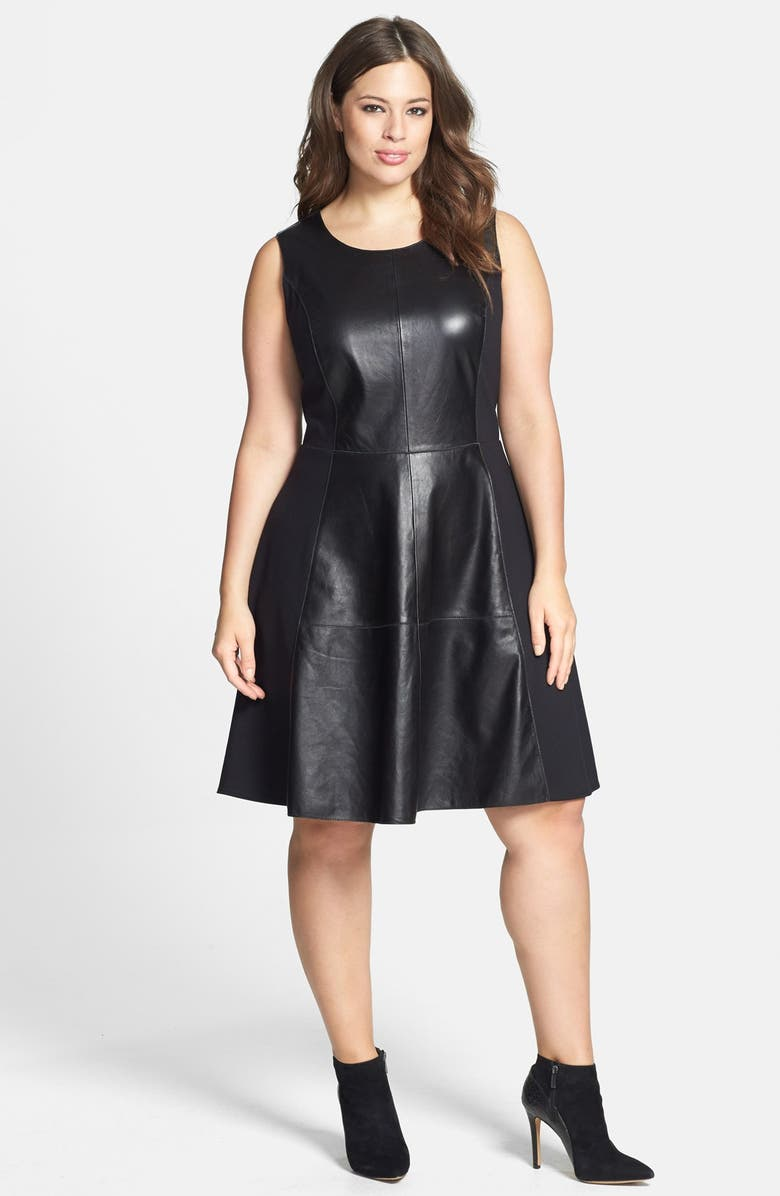 Leather & Ponte Knit Fit & Flare Dress