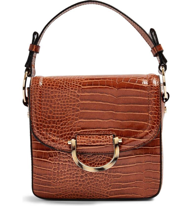TOPSHOP Carrie Croc Shoulder Bag, Main, color, TAN