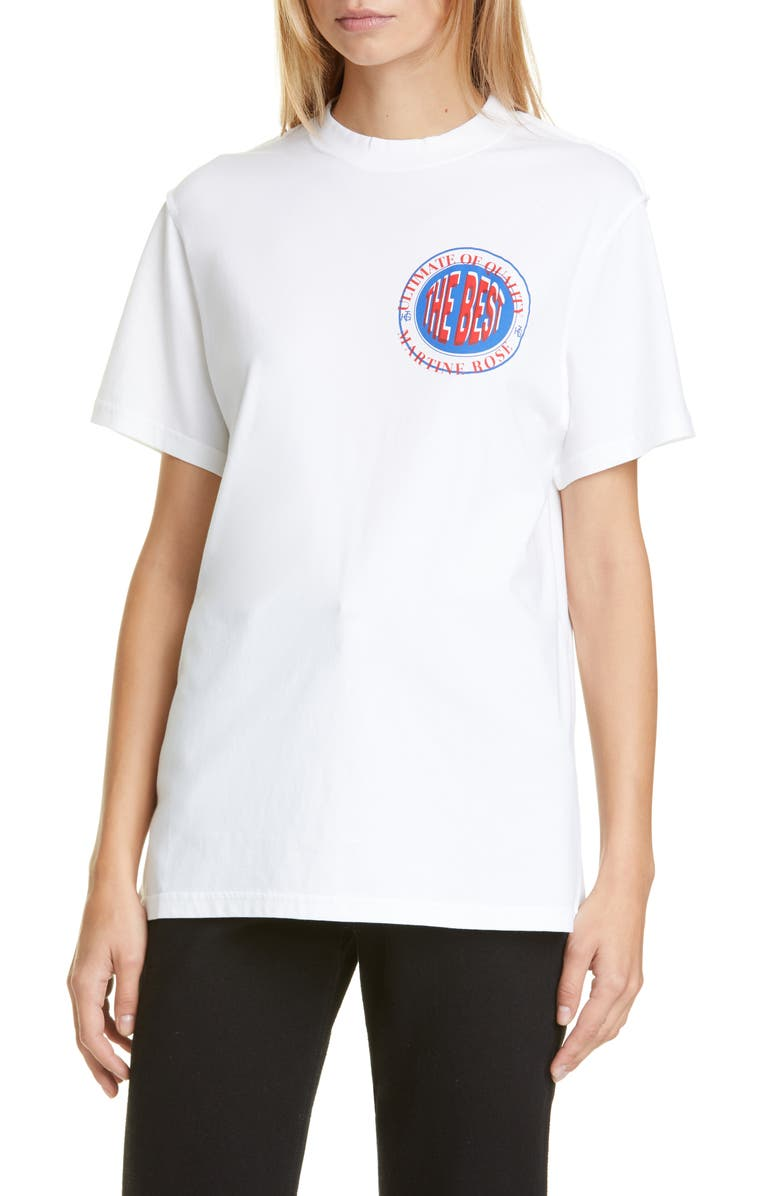 MARTINE ROSE Inverted Graphic Cotton Tee, Main, color, WHITE