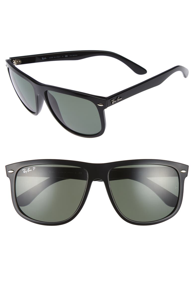 RAY-BAN 'Boyfriend' 60mm Polarized Sunglasses, Main, color, BLACK/ GREEN P