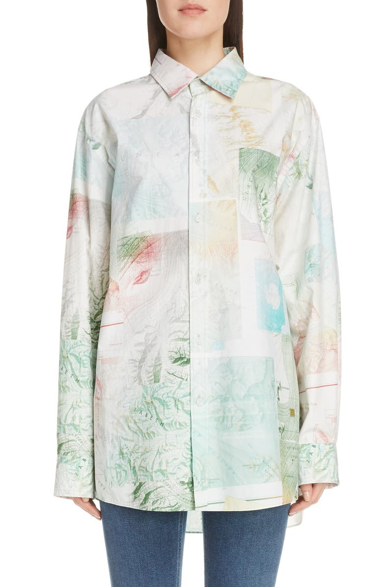 ACNE STUDIOS Salem Map Print Cotton Shirt, Main, color, MULIT COLOUR-GREEN-MAP PRINT