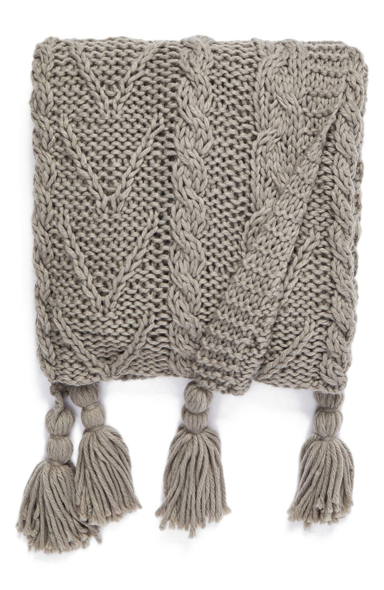 NORDSTROM AT HOME Cable Knit Tassel Throw Blanket, Main, color, 020