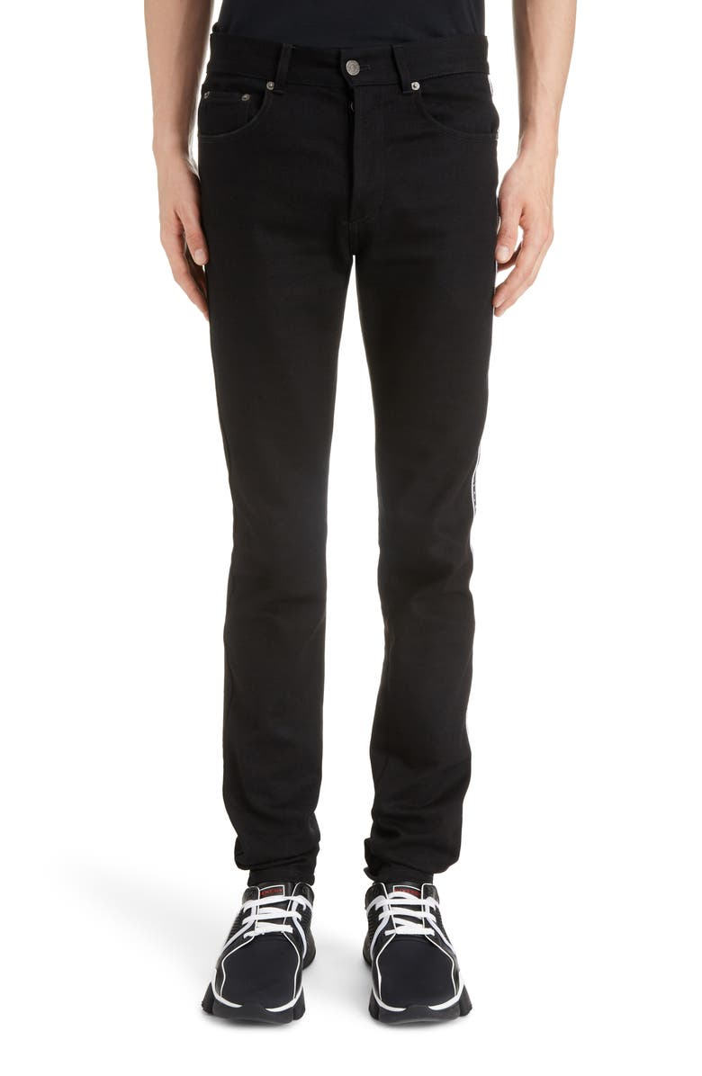 GIVENCHY Side Stripe Skinny Fit Jeans, Main, color, BLACK