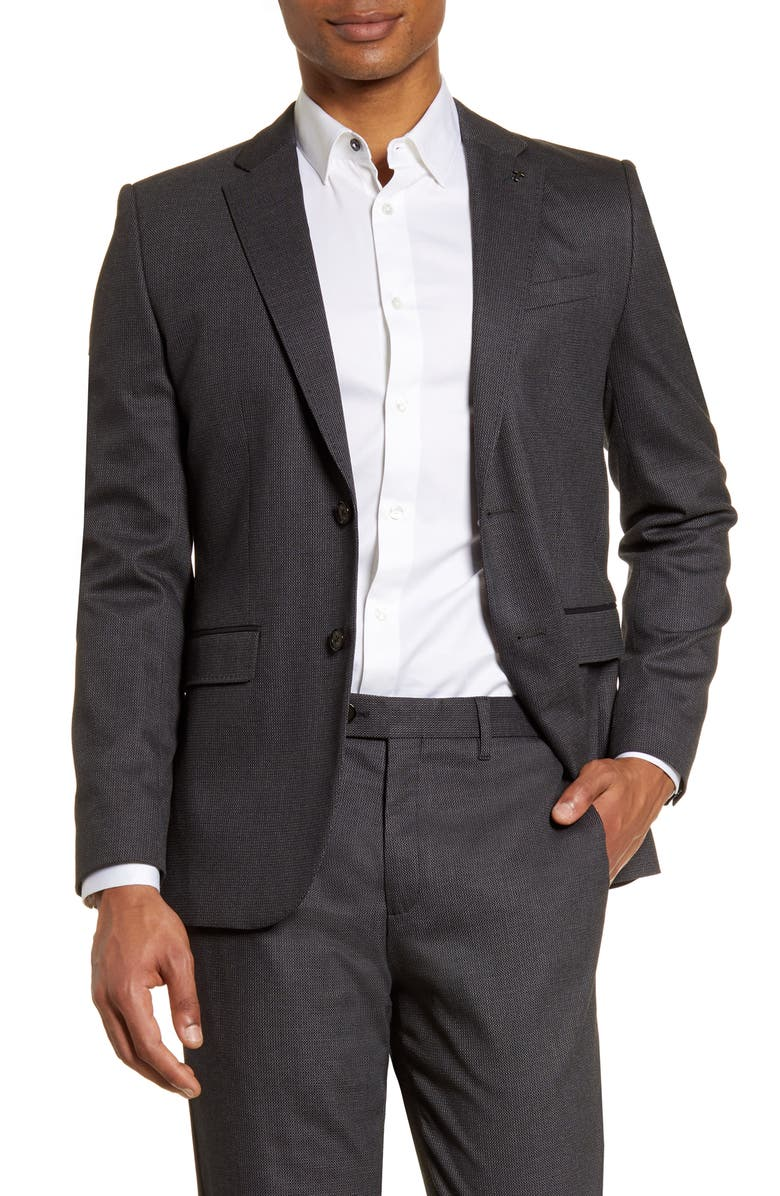 TED BAKER LONDON Beezly Textured Sport Coat, Main, color, CHARCOAL