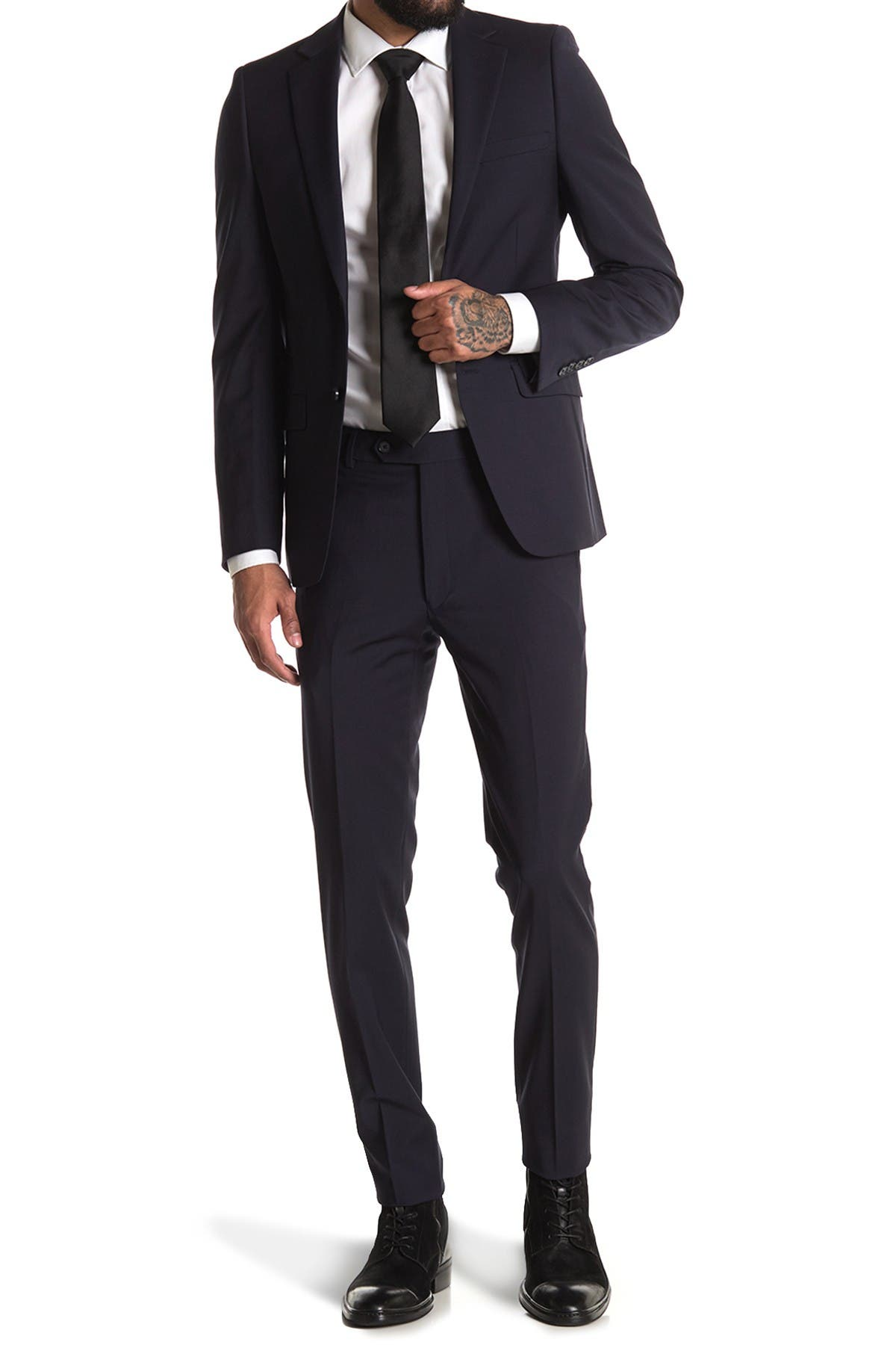 Image of Calvin Klein Navy Solid Two Button Notch Lapel Stretch Wool Suit