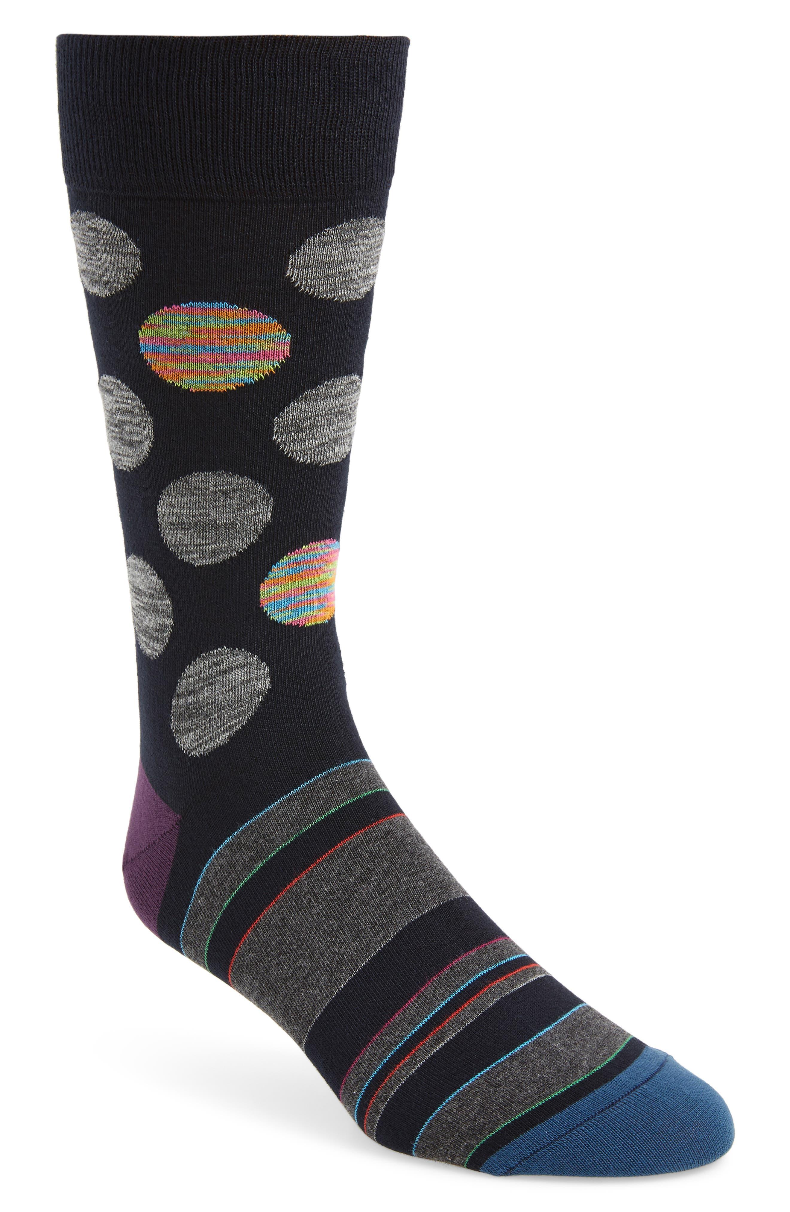 men's bugatchi mercerized cotton blend socks, size one size - blue