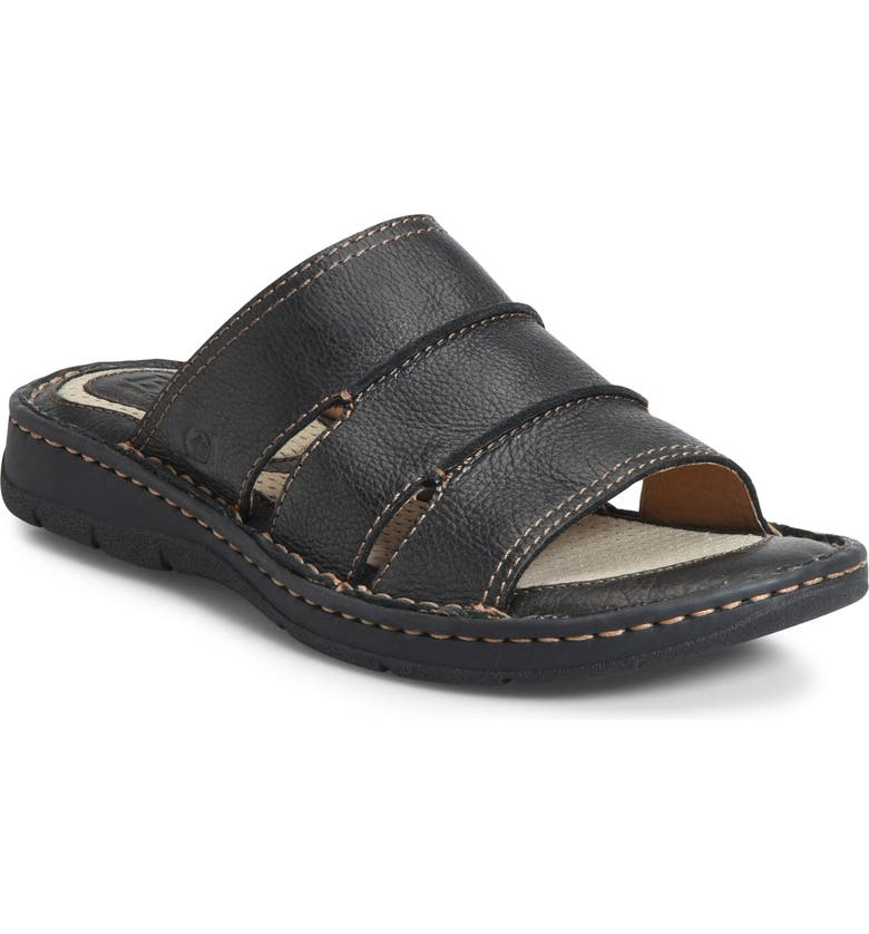 BØRN Weiser Slide Sandal, Main, color, BLACK LEATHER