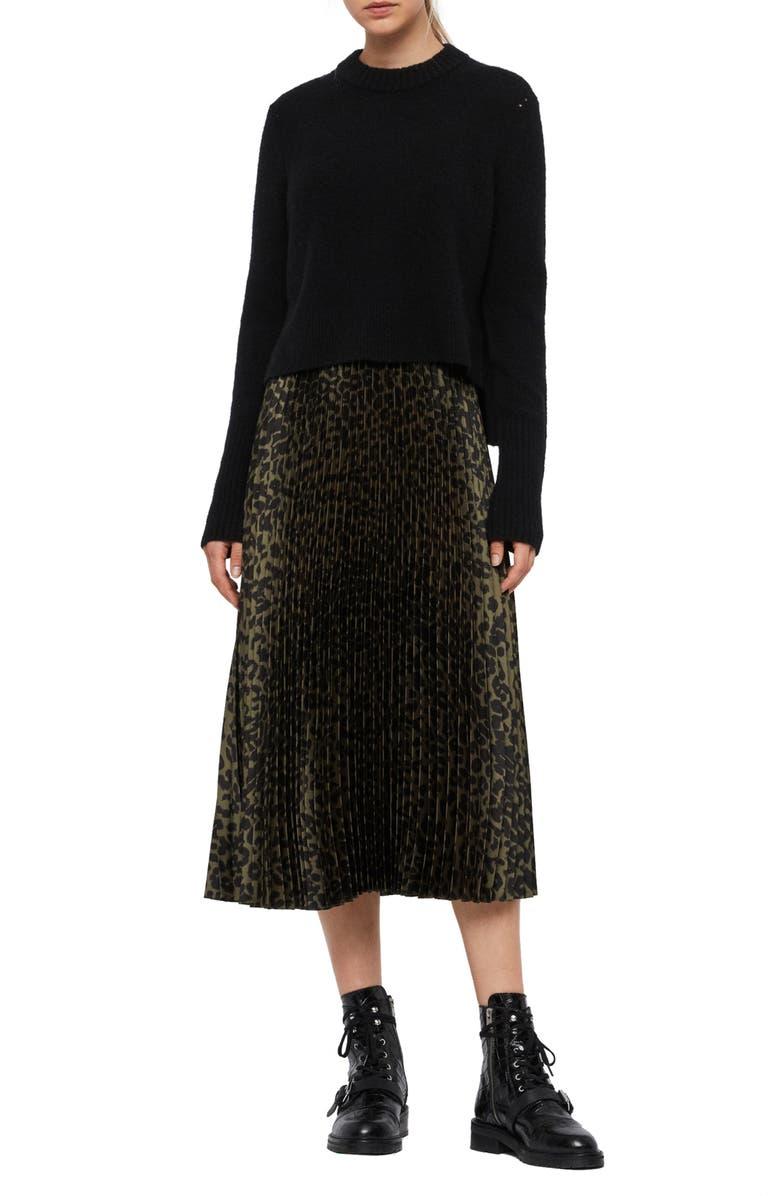 ALLSAINTS Leowa Dress with Sweater, Main, color, BLACK/ KHAKI GREEN