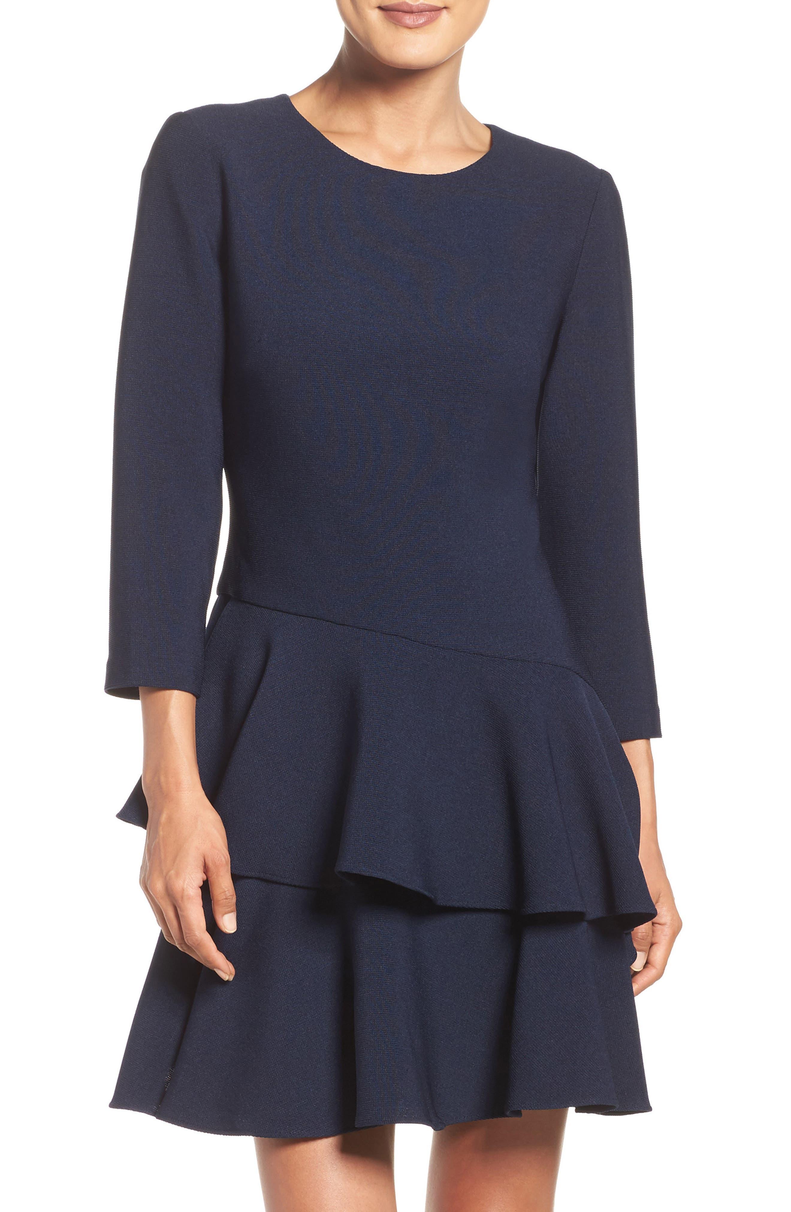,                             Tiered Ruffle Knit Dress,                             Main thumbnail 15, color,                             410