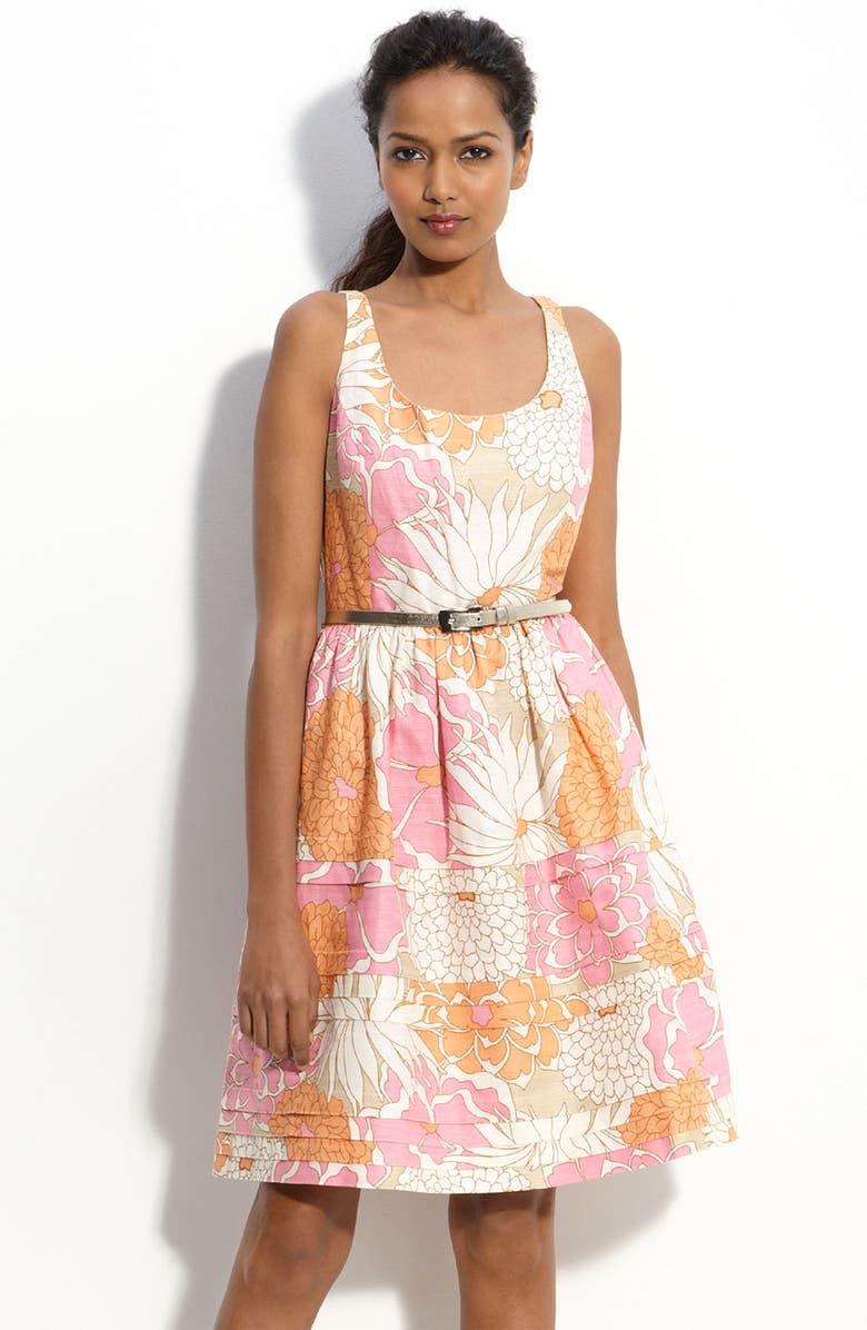 ELIZA J Belted Linen Blend Dress, Main, color, 900