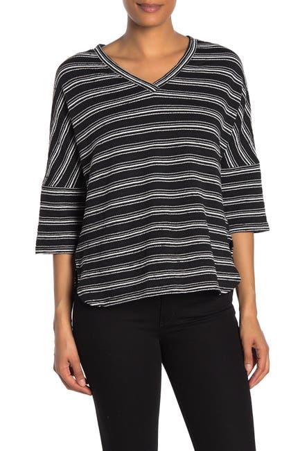Image of Max Studio Stripe V-Neck Knit Top