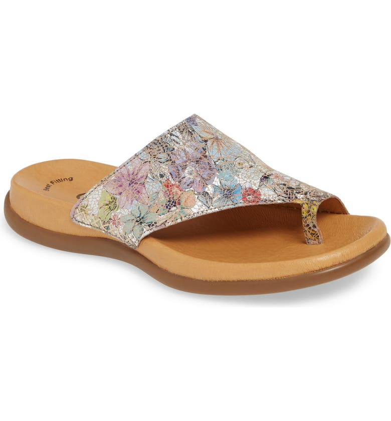 GABOR Slide Sandal, Main, color, FLOWER PRINT LEATHER