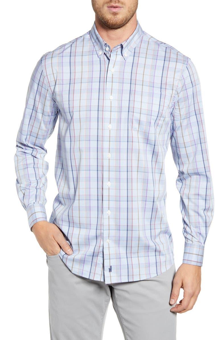 JOHNNIE-O Davenport Classic Fit Check Button-Down Performance Sport Shirt, Main, color, GULF BLUE