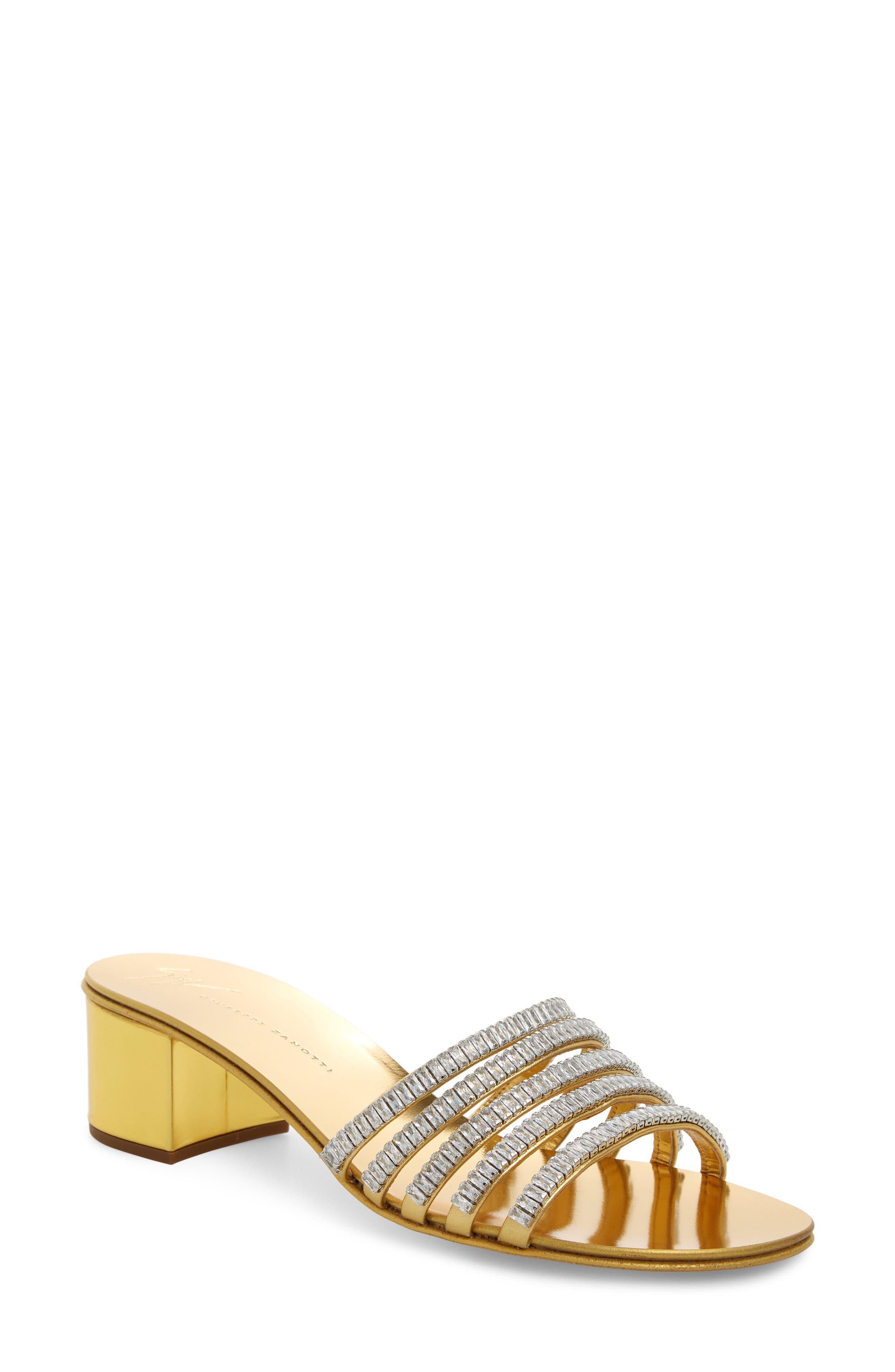 ,                             Crystal Embellished Slide Sandal,                             Main thumbnail 1, color,                             GOLD