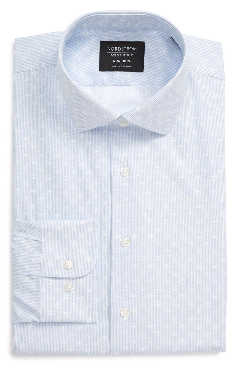 NORDSTROM MEN'S SHOP Trim Fit Non-Iron Dress Shirt, Main, color, BLUE LINE DOT STRIPE