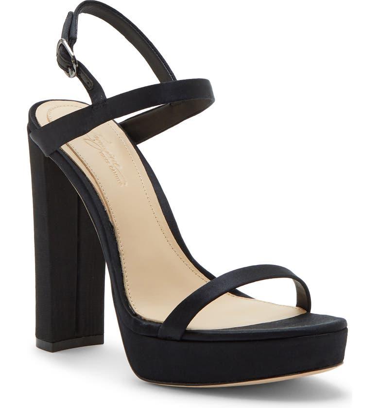 IMAGINE BY VINCE CAMUTO Mika Platform Sandal, Main, color, BLACK SATIN