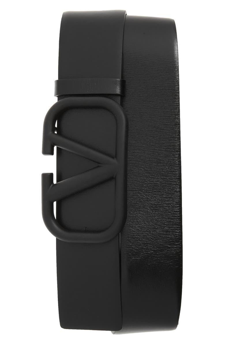 VALENTINO V-Logo Buckle Leather Belt, Main, color, 001