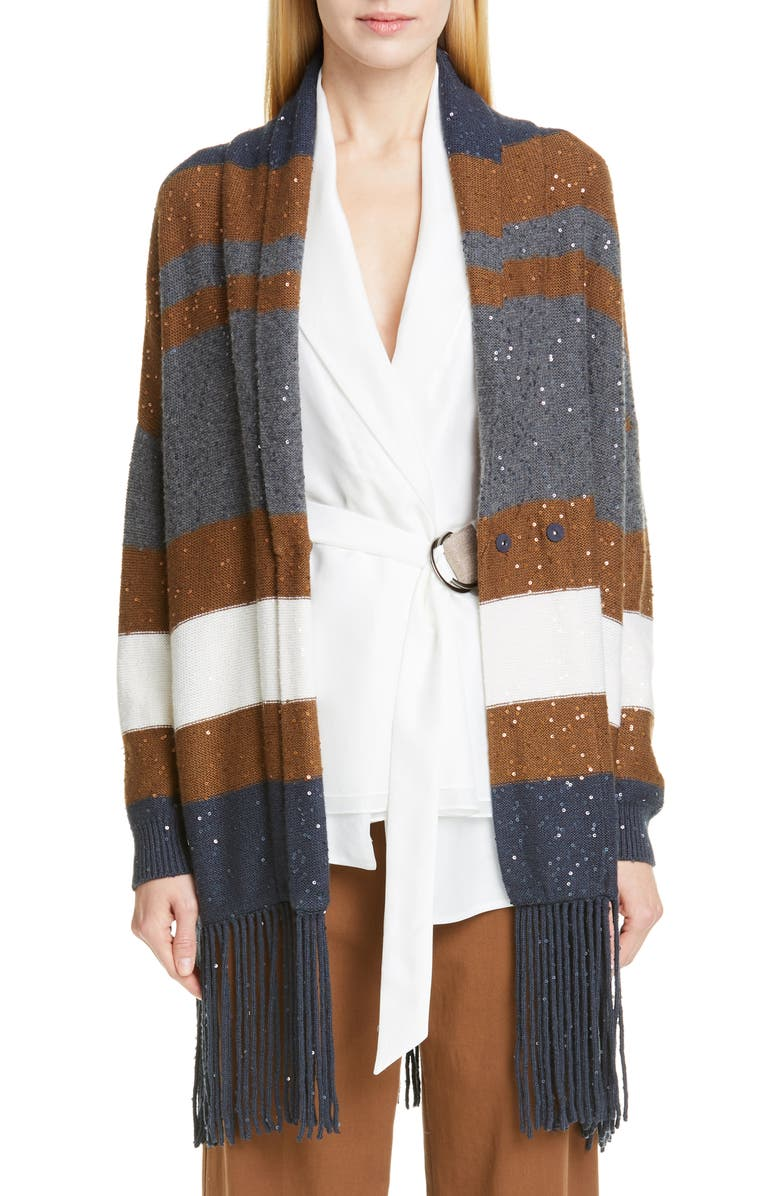 BRUNELLO CUCINELLI Fringe Trim Sequin Stripe Wool & Silk Cardigan, Main, color, MIDNIGHT