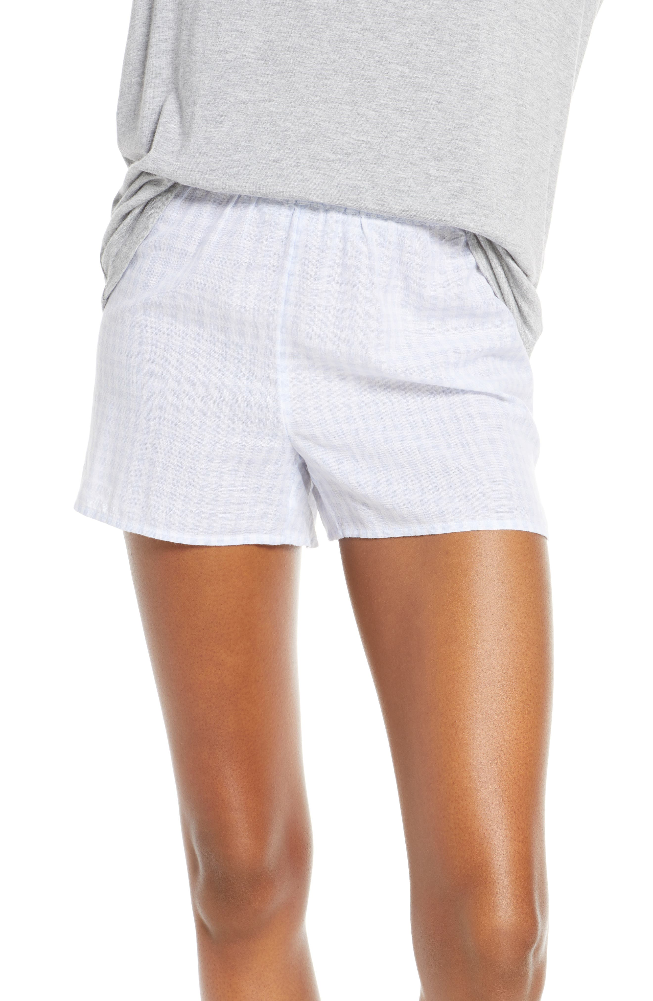 Plus Size Madewell Gingham Bedtime Pajama Shorts, Blue
