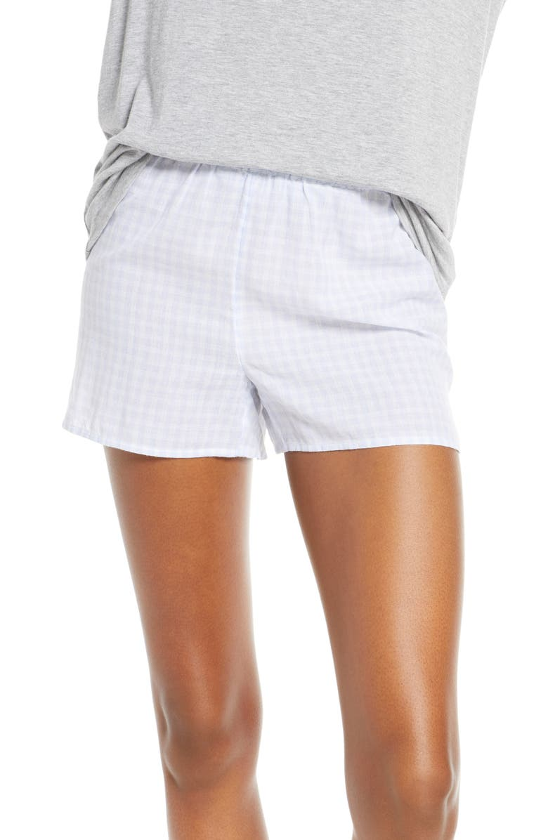 MADEWELL Gingham Bedtime Pajama Shorts, Main, color, BESSY GINGHAM CRAFT BLUE