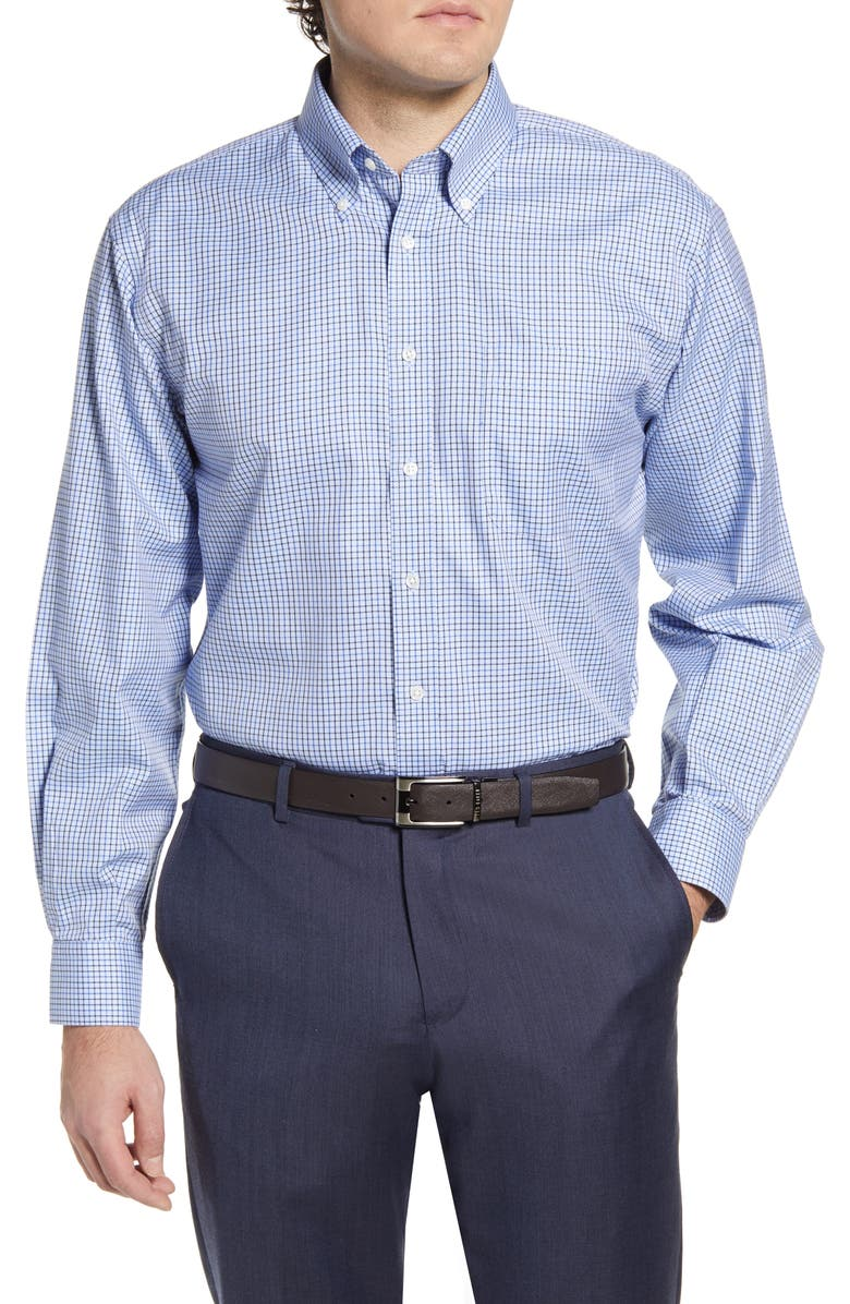 NORDSTROM MEN'S SHOP Smartcare<sup>™</sup> Classic Fit Check Dress Shirt, Main, color, NAVY EVENING