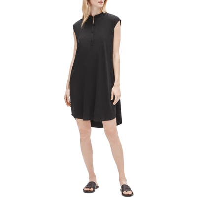 Petite Eileen Fisher Mandarin Collar Shirtdress, Black