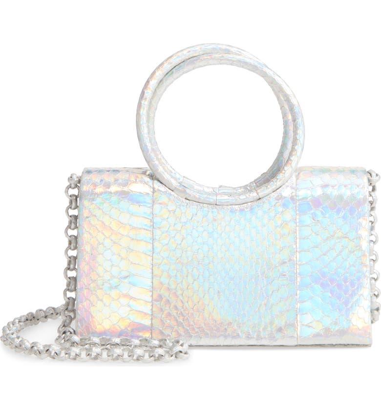 NANCY GONZALEZ Regina Iridescent Genuine Snakeskin Top Handle Bag, Main, color, SILVER