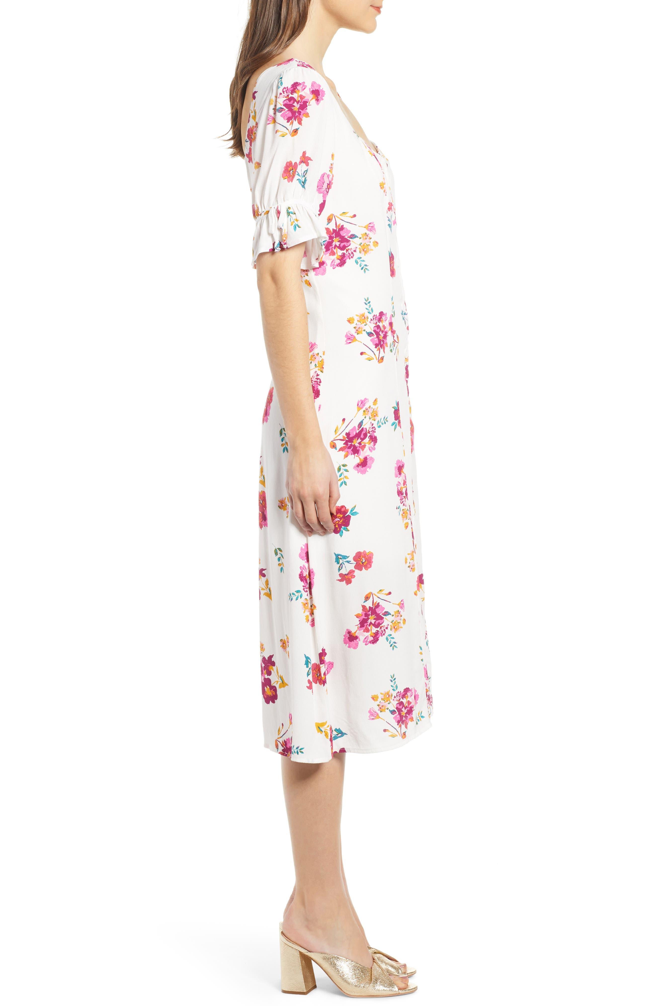 ,                             Floral Print Midi Dress,                             Alternate thumbnail 4, color,                             WHITE MULTI FLORAL