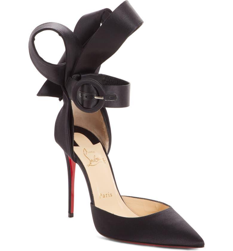 CHRISTIAN LOUBOUTIN Raissa Bow Ankle Strap Pump, Main, color, 001