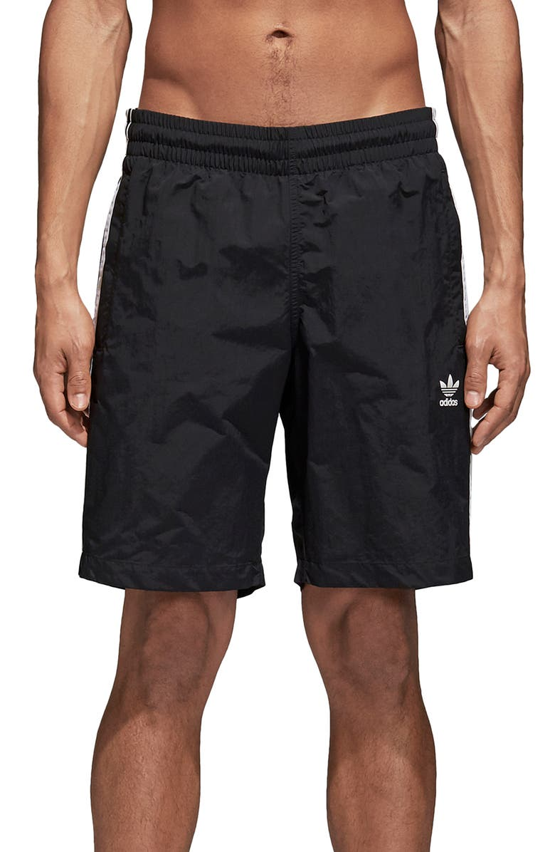 ADIDAS ORIGINALS 3-Stripes Swim Trunks, Main, color, BLACK