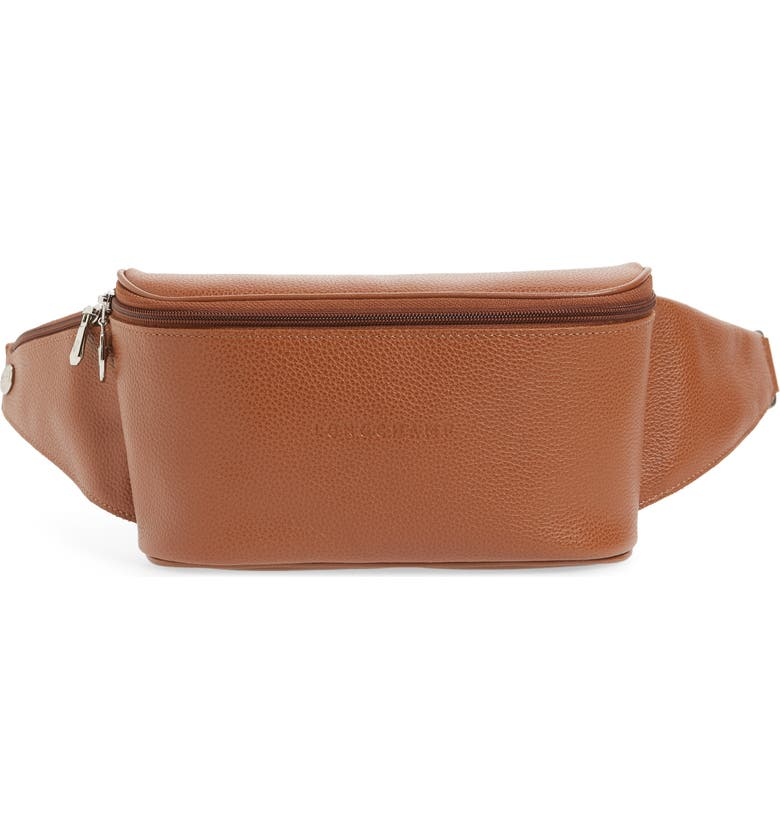 LONGCHAMP Le Foulonné Leather Belt Bag, Main, color, CARAMEL